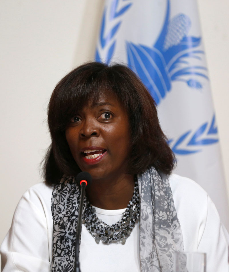 Ertharin Cousin, Executive Director of the United Nations World Food Programme, speaks during a news conference in Kabul, Afghanistan September 2, 2016. Photo: REUTERS