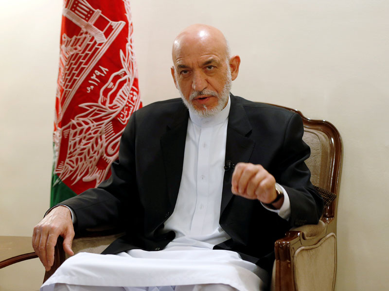 Former Afghan president Hamid Karzai speaks during an interview in Kabul, Afghanistan on Tuesday September 13, 2016. Photo: REUTERS
