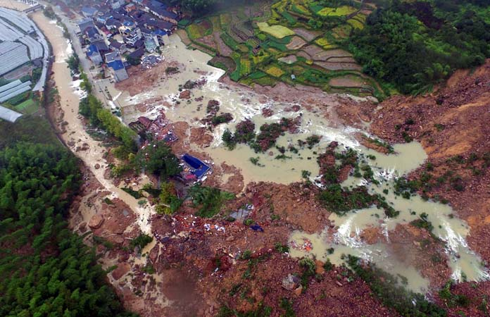 File- The site of a landslide caused by heavy rains brought by Typhoon Megi, in Sucun Village, Lishui, Zhejiang province, China, on September 29, 2016. Photo: Reuters