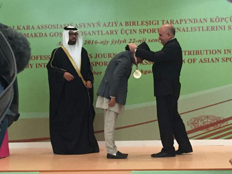 NSJF IPP Ajay Phuyal being honoured during the first Asian Sports Journalist Day in Ashgabat on Thursday. THT