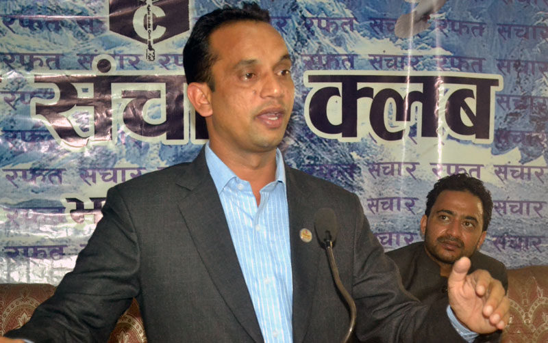 Minister for Law, Justice and Parliamentary Affairs Ajaya Shankar Nayak addresses journalists at an interaction programme in Bhaktapur, on Sunday, September 04, 2016. Photo: Rafat Sanchar Club