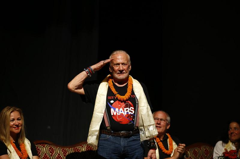 'The moon man' Aldrin Buzz shares his experience in a programme organised at the Nepal Academy Hall, in Kathmandu, on Thursday, September 8, 2016. Photo: Skanda Gautam