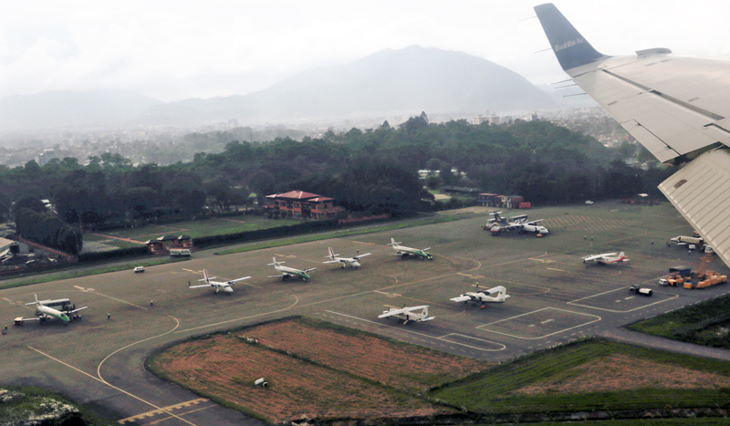 FILE - An ariel view of domestic airlines parked at the Tribhuvan International Airport in Kathmandu, on Tuesday, September 6, 2016. Photo: RSS