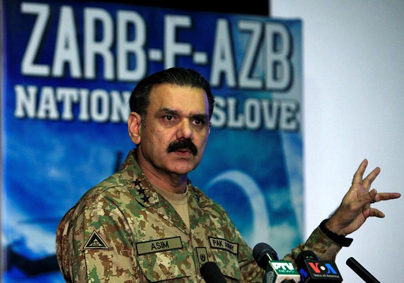Lieutenant General Asim Bajwa, the military's top spokesman speaks during a news conference in Rawalpindi, Pakistan, on September 1, 2016. Photo: Reuters