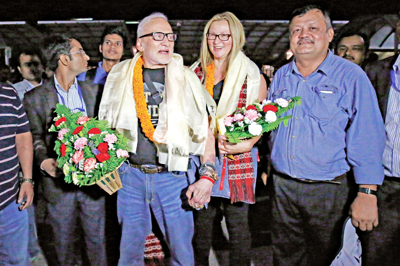 Former NASA astronaut and one of the first two humans to set foot on the Moon, Buzz Aldrin, arriving at Tribhuvan International Airport, in Kathmandu, on Sunday, September 4, 2016. Photo: THT