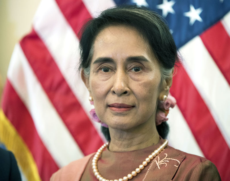 File - Myanmar leader Aung San Suu Kyi, is attends a meeting on Capitol Hill in Washington, on September 15, 2016. Photo: AP
