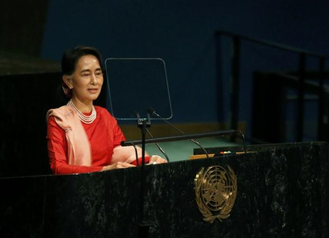 Myanmar's Minister of Foreign Affairs Aung San Suu Kyi addresses the 71st United Nations General Assembly in Manhattan, New York, U.S. September 21, 2016. REUTERS/Carlo Allegri