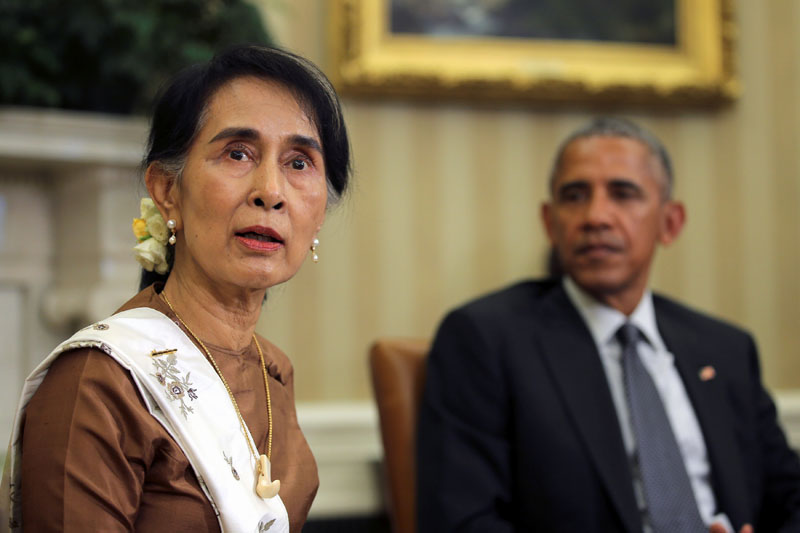 Myanmar's State Counsellor Aung San Suu Kyi meets with US President Barack Obama at the Oval Office of the White House in Washington, DC, US September 14, 2016. Photo: Reuters