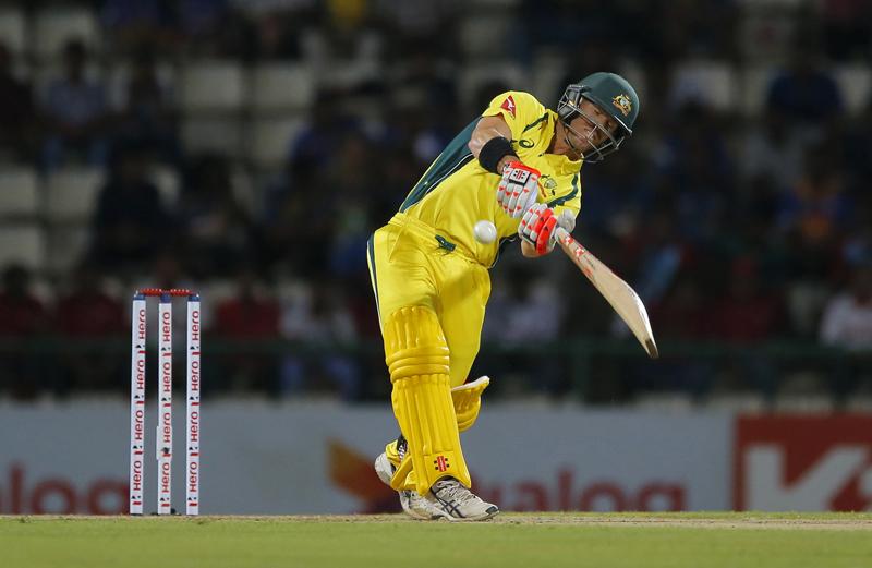 Australia's David Warner plays a shot against Sri Lanka during their first Twenty20 cricket match in Pallekele, Sri Lanka, Tuesday, Sept. 6, 2016. Photo: AP