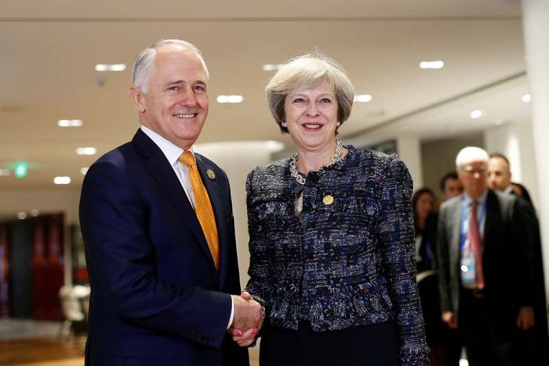 British Prime Minister Theresa May (R) meets Australian Prime Minister Malcolm Turnbull during a bilateral meeting at the sidelines of G20 Summit in Hangzhou, Zhejiang Province, China, on September 5, 2016. Photo: Reuters