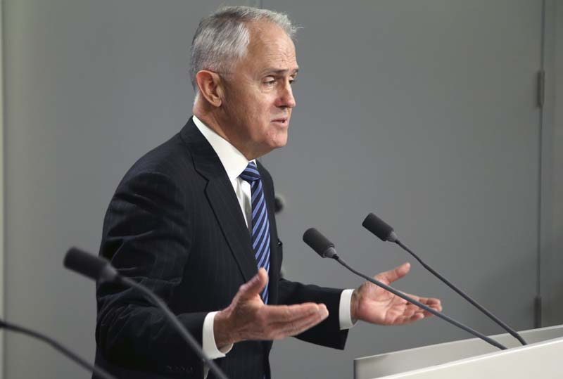 File- Australia's Prime Minister Malcolm Turnbull comments after the Australian Bureau of Statistics shut down its website to protect data after four denial-of-service attacks that came from somewhere overseas, in Sydney, on August 10, 2016. Photo: AP