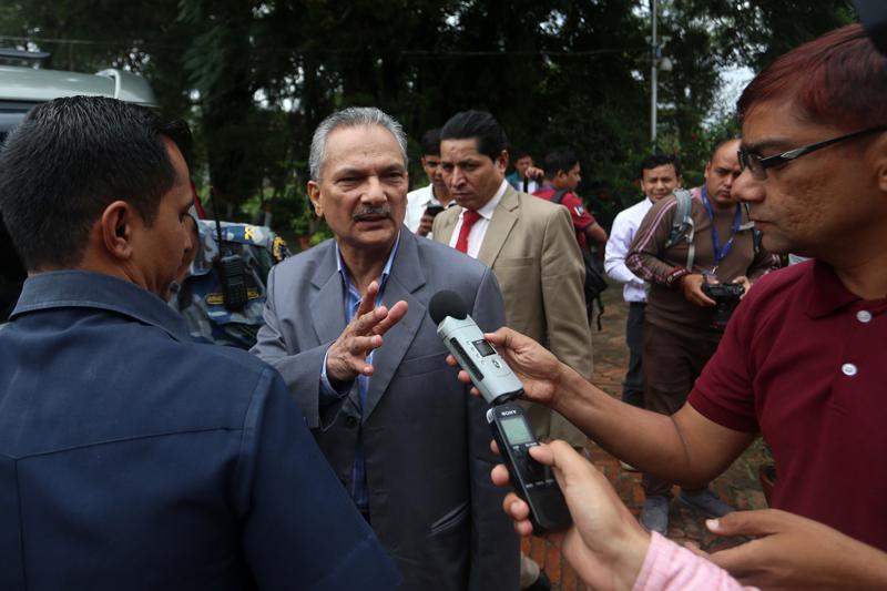 Naya Shakti Nepal Coordinator Baburam Bhattarai speaks with journalists at Baluwatar on Tuesday, September 13, 2016. Photo: RSS