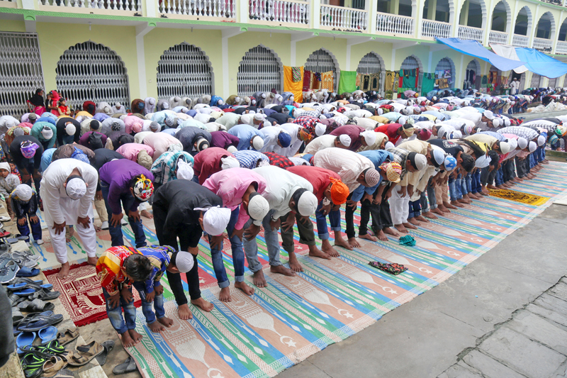 Muslim devotees praying at the Ghantaghar-based Jame Masjid on the occasion of Bakra-Eid, in Kathmandu, on Tuesday, September 13, 2016. Photo: RSS