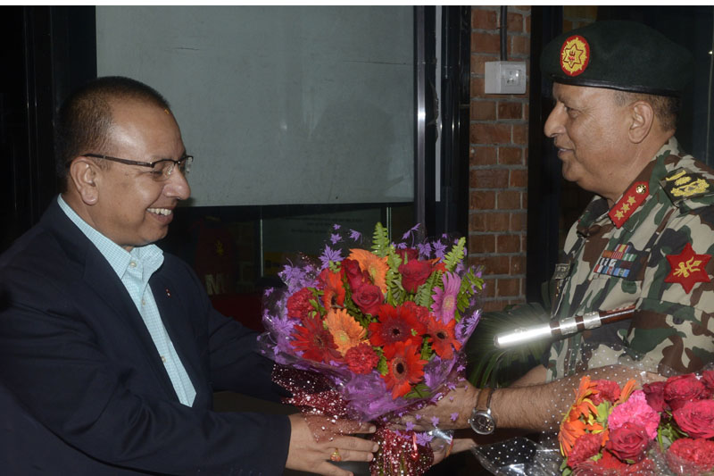 Lieutenant General Baldev Raj Mahat (right) sees Chief of Army Staff Rajendra Chhetri off at the Tribhuvan International Airport as the latter is leaving for the Philippines, in Kathmandu, on Saturday, September 3, 2016. Photo: Nepal Army DPR