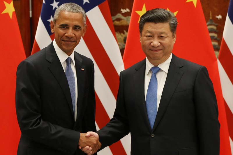 US President Barack Obama and Chinese President Xi Jinping shake hands during their meeting ahead of the G20 Summit at the West Lake State Guest House in Hangzhou, China, on September 3, 2016. Photo: Reuters