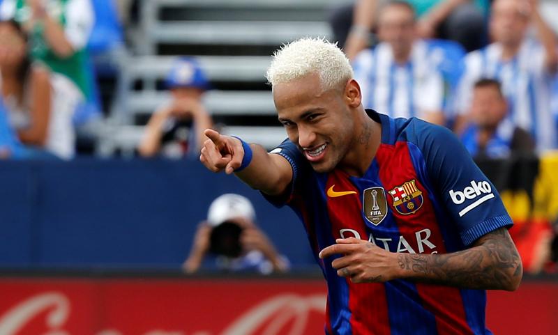 Barcelona's Neymar celebrates a goal. Photo: Reuters