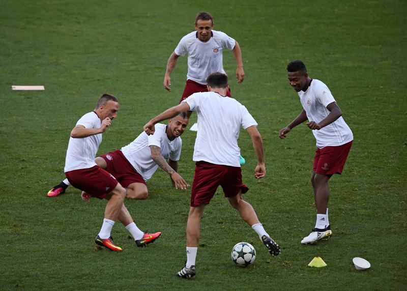 Bayern Munich's players at a training session. Photo: Reuters