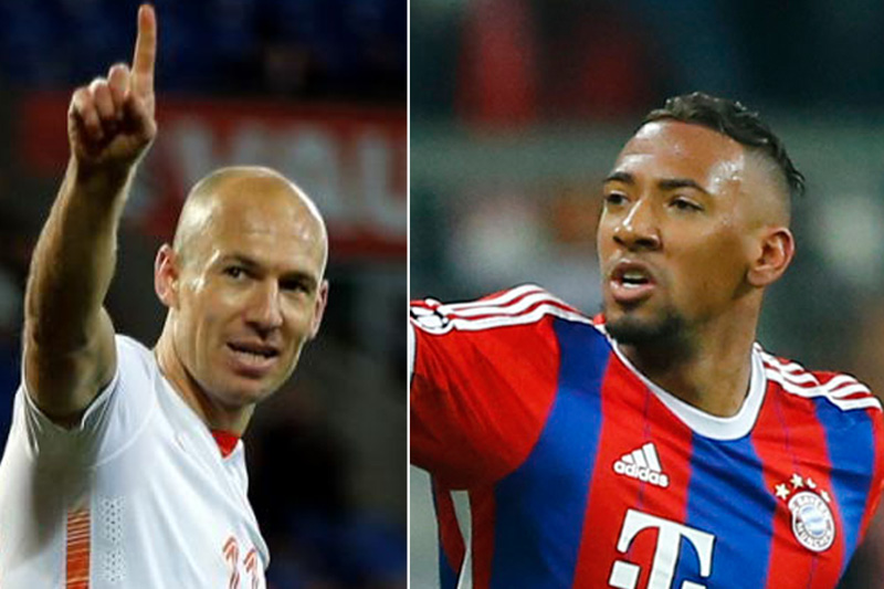 File photos of Bayern Munich's Arjen Robben (left) and Jerome Boateng. Photos: Reuters