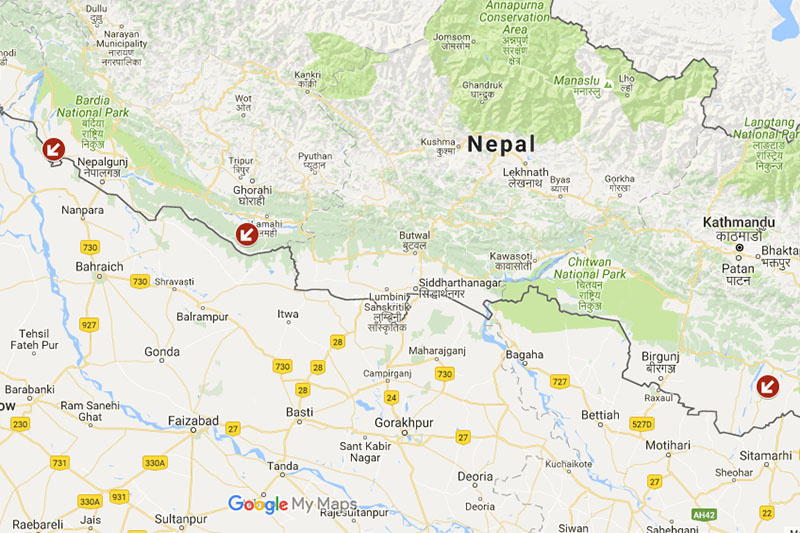 Nepal's lawmakers propose to open new transit points India at three different palces; Bela in Sarlahi District , Gulariya in Bardiya District and Murtiya in Sarlahi district, at Prlliament meeting in Kathmandu, on September 8, 2016. Photo: Google Maps