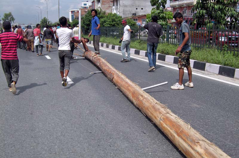 Bhaktapur locals drag a lingo, a towering wooden pole, brought all the way from Sallaghari for the upcoming Indra Jatra festival, in Bhaktapur, on Monday, September 05, 2016. The lingo is erected at Hanumandhoka to begin the eight-day long festival. Photo: RSS