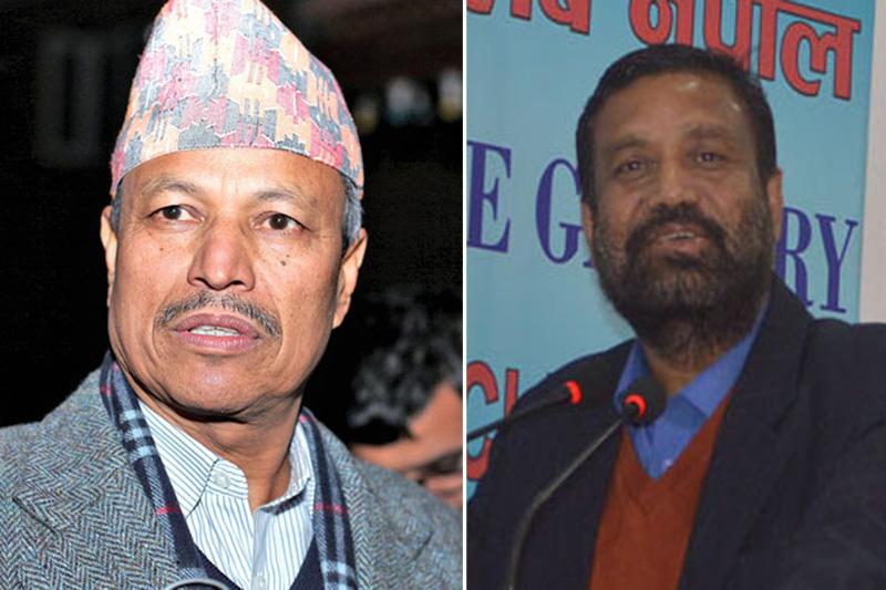 File photo of CPN-UML leader Bhim Rawal and Nepali Congress leader Bimalendra Nidhi. Photos: THT