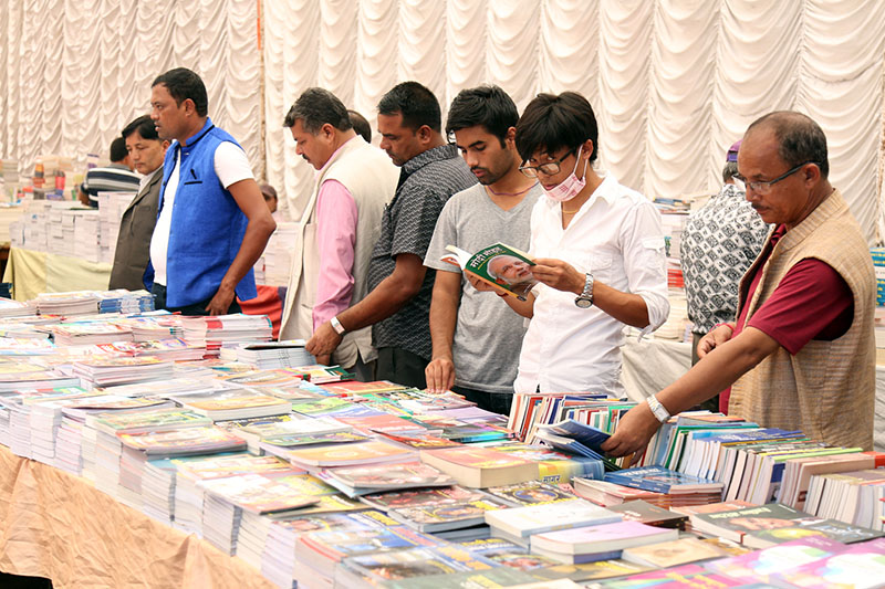 Book lovers visit a book fest in Bhrikuti Mandap on Friday, September 16, 2016. Photo: RSS
