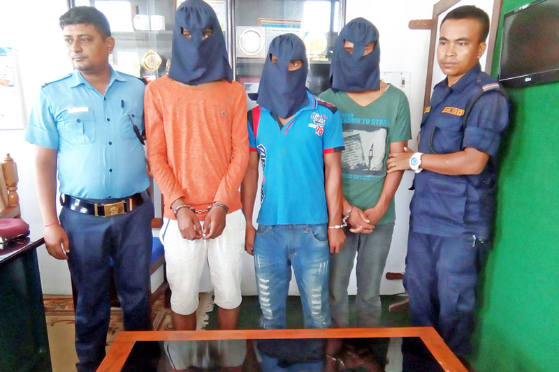 Police parade three suspected robbers at the Parsa District Police Office, in Birgunj, on Monday, September 12, 2016. Photo: Ram Sarraf
