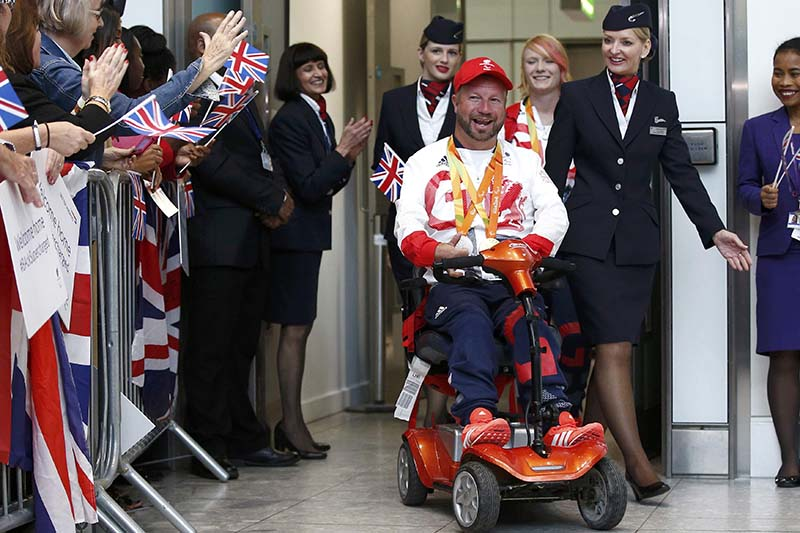 British paralympian Lee Pearson returns from the Rio 2016 Paralympics, at Heathrow airport in London, Britain on September 20, 2016.  Photo: Reuters