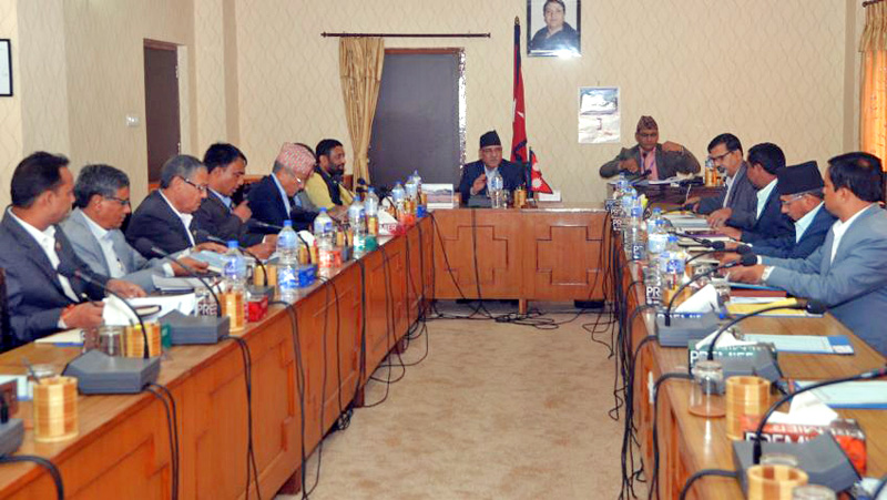 PM Pushpa Kamal Dahal along with other ministers taking part in the Cabinet meeting in Singha Durbar, Kathmandu, on Sunday, September 11, 2016. Courtesy: PM's Sectretiat