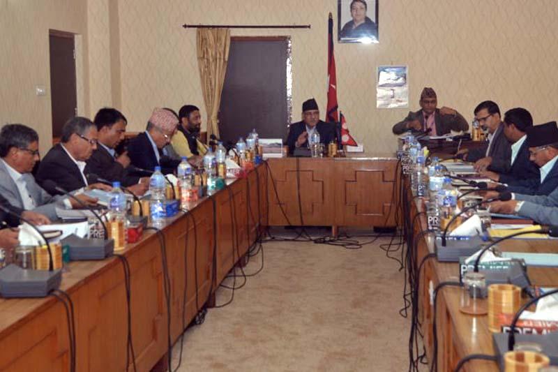 FILE: A Cabinet meeting underway at Singhdurbar, Kathmandu, on Thursday, September 22, 2016. Photo Courtesy: PM's Secretariat