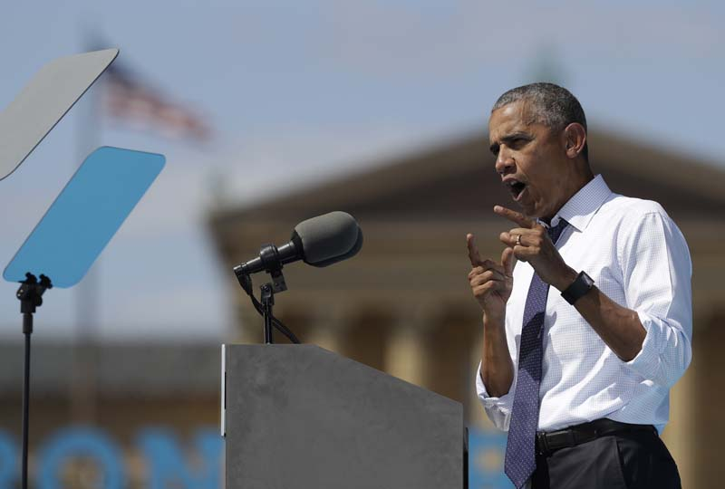 President Barack Obama speaks at campaign event for Democratic presidential candidate Hillary Clinton, in Philadelphia, on September 13, 2016. Photo: AP