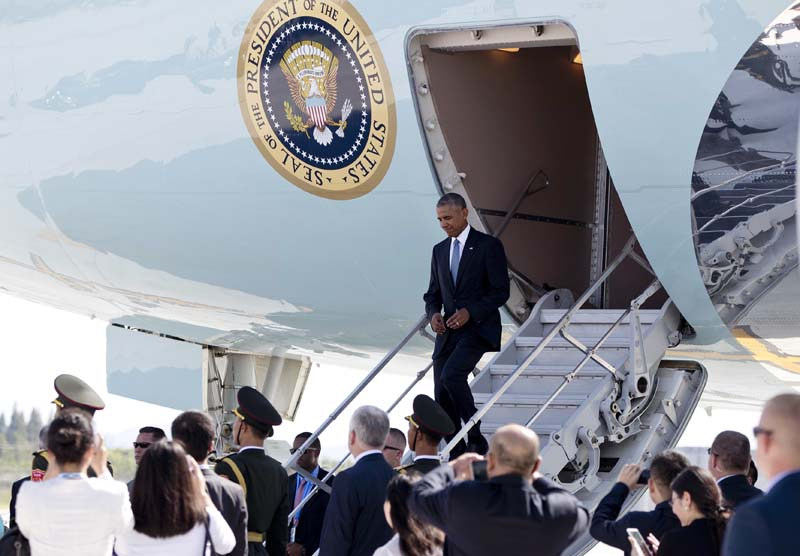 US President Barack Obama arrives on Air Force One at Hangzhou Xiaoshan International Airport in Hangzhou in eastern China's Zhejiang province, on Saturday, September 3, 2016. Photo: AP