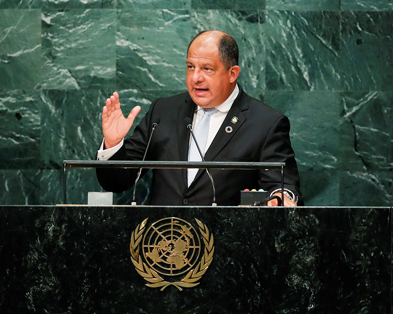 Costa Rican President Luis Guillermo Solis Rivera addresses the United Nations General Assembly in the Manhattan borough of New York, US, on September 20, 2016. Photo: Reuters