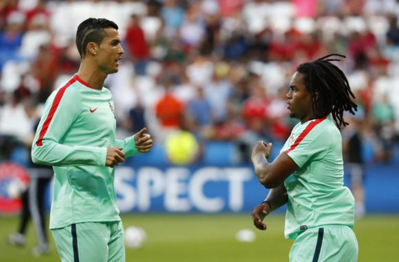 Portugal's Cristiano Ronaldo and Renato Sanches before the Football Soccer game during Semi Final of EURO 2016 at Stade de Lyon in Lyon, France on June 7, 2016. Photo: Reuters