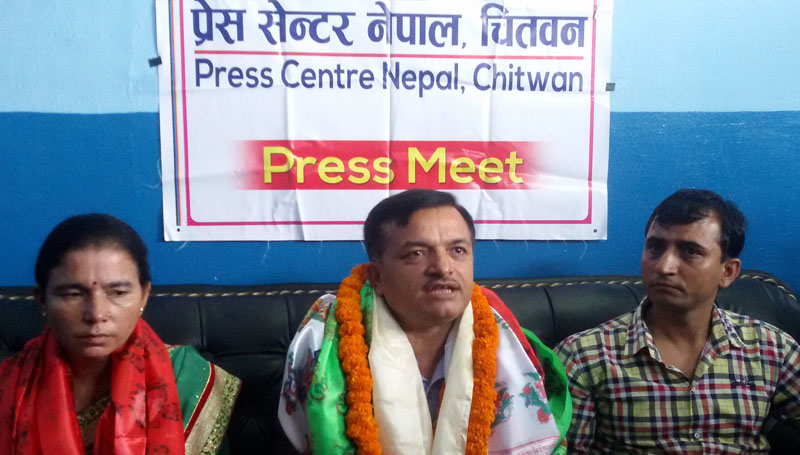 FILE: Minister for Education, Dhaniram Paudel addresses journalista at a press meet organised by Press Centre Nepal in Chitwan, on Friday, September 09, 2016. Photo: Tilak Ram Rimal
