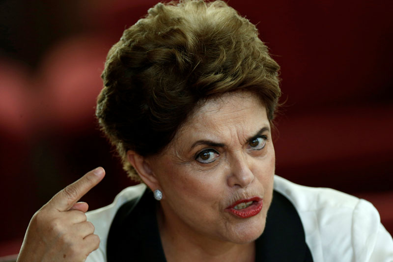 File - Brazil's former President Dilma Rousseff reacts during a news conference for foreign journalists at Alvorada Palace in Brasilia, Brazil, on September 2, 2016. Photo: Reuters