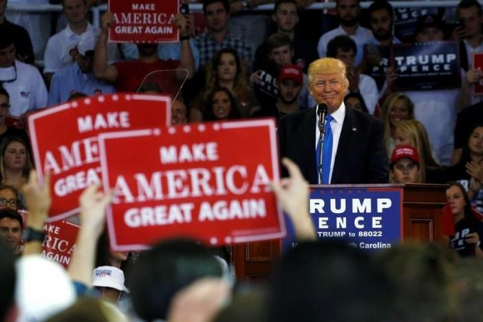 Republican presidential nominee Donald Trump speaks at a rally with supporters at High Point University in High Point, North Carolina, U.S. September 20, 2016. REUTERS/Jonathan Ernst