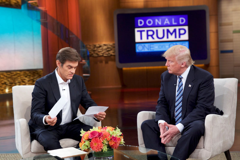 Donald Trump releases medical records for the first time to Dr Oz on The Dr Oz Show detailing the results of his most recent physical examination, in New York, US, September 14, 2016. Sony Pictures Television via Reuters