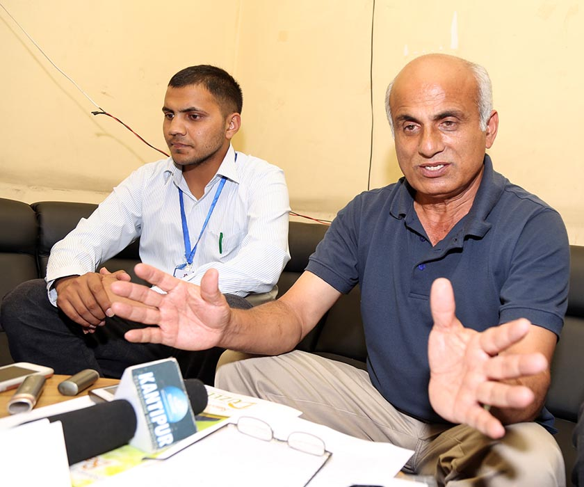 Dr Govinda KC speaks at a press conference that he organised at TUTH, Maharajganj in Kathamandu on Saturday, September 10. Photo: RSS