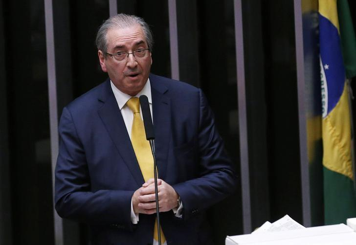 Former speaker of Brazil's Lower House of Congress, Eduardo Cunha (bottom L), speaks at a session of the House as they debate his impeachment, in Brasilia, Brazil, September 12, 2016. REUTERS/Adriano Machado