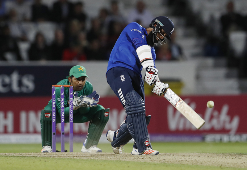 England's Moeen Ali hits a six during Fourth One Day International cricket game against Pakistan at Headingly, on Friday, September 2, 2016. Photo: Reuters