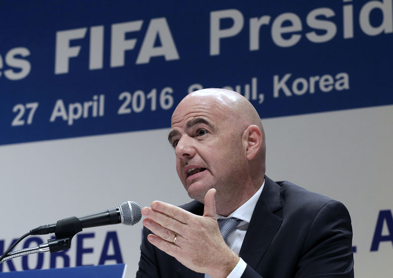 FILE - FIFA President Gianni Infantino speaks during a press conference in Seoul, South Korea, on Wednesday, April 27, 2016. Photo: AP