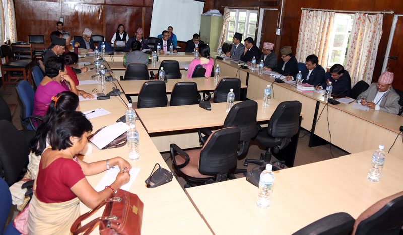 Members of the Finance Committee of Parliament holding a discussion in Singha Durbar on Thursday, September 08, 2016. Photo: RSS