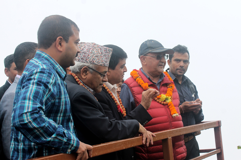 Former Prime Minister KP Sharma Oli viewing Kathmandu Valley from Chandragiri Hill, on the South-West of Kathmandu Valley, on Wednesday, September 07, 2016. Photo: RSS