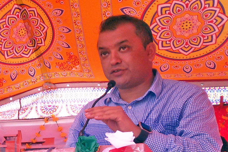 Minister for Health Gagan Thapa speaking after laying the foundation stone of a new block in Bharatpur Hosptial, in Chitwan on Thursday, September 22, 2016. Photo: RSS