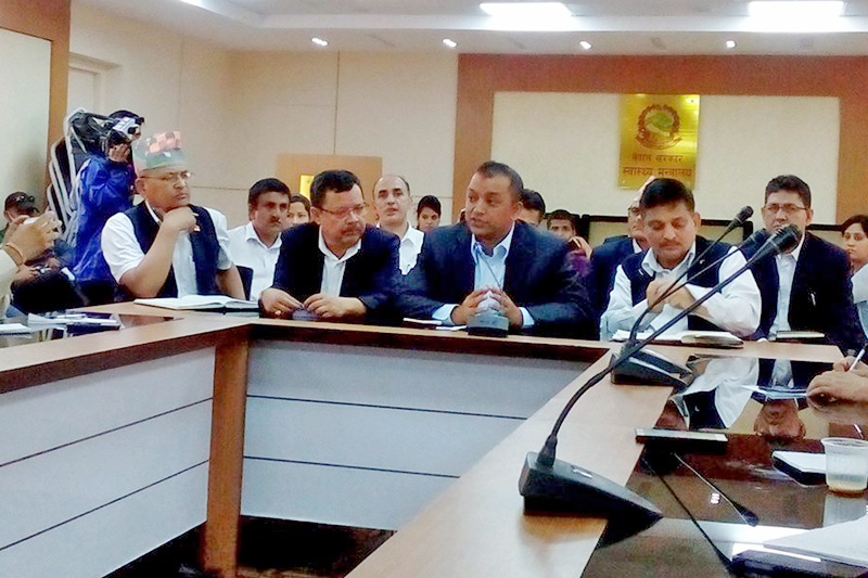 FILE: Health Minister Gagan Thapa taking part in a meeting held at Health Ministry in Singha Durbar, Kathmandu, on Thursday, September 1, 2016. Photo: RSS