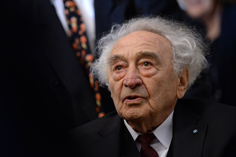 FILE - Holocaust survivor Max Mannheimer arrives for a ceremony marking the 70th anniversary of the Auschwitz concentration camp in Munich, southern Germany, on January 27, 2015. Mannheimer died on Friday, September 23, 2016. He was 96. Photo: Andreas Gebert/dpa via AP