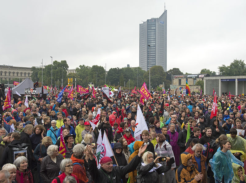 People demonstrate against the TTIP and CETA trade agreements in Leipzig, Germany, on Saturday, September 17, 2016. Thousands of people are rallying in cities across Germany to protest against planned European Union trade deals with the United States and Canada. Photo: AP