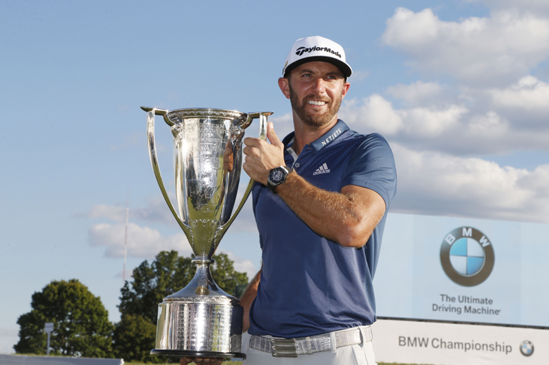 Dustin Johnson poses with the Western Golf Association Trophy after winning the BMW Championship at Crooked Stick GC. Mandatory Credit: Brian Spurlock-USA TODAY Sports