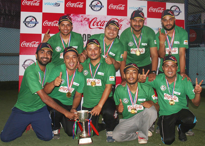 Gorkha Brewery players celebrate after winning the Coca-Cola Indoor Corporate Cup in Kathmandu, on Sunday, September 11, 2016. Photo: THT